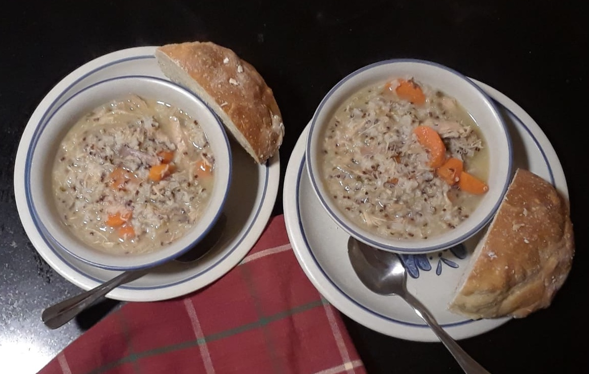 Turkey Soup served with homemade bread